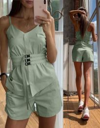 Дамски комплект потник и къси панталонки в зелено - код 3657
