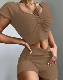 Дамски комплект тениска и къси панталонки рипс в цвят капучино - код 1086