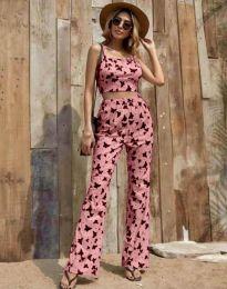 Дамски комплект потник и панталон в розово с десен на пеперуди - код 6899
