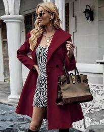 Елегантно вталено дамско палто в цвят бордо - код 3908