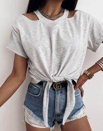 Ефектна дамска тениска в сиво - код 11669
