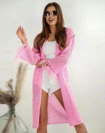 Ефектна дълга плетена дамска жилетка в розово - код 4539