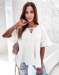 Свободна риза в бяло - код 8842