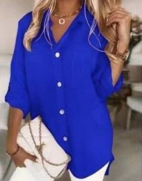 Дълга свободна дамска риза в синьо - код 0239