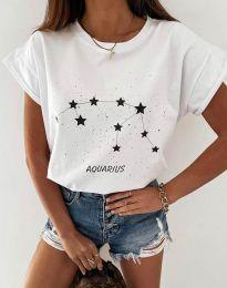 Дамска тениска с принт зодия водолей в бяло - код 2342