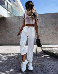 Дамски свободен панталон в бяло - код 11803