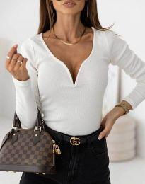 Стилна дамска блуза рипс с дълбоко деколте в бяло - код 12048
