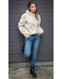 Kapucnis pulóver - kód 6352 - 1 - bézs
