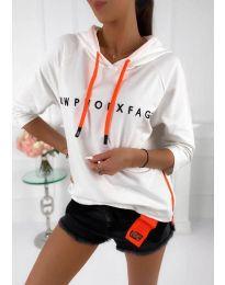 Kapucnis pulóver - kód 4149 - 3 - fehér