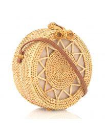 Дамска чанта в бежово от плетиво с кръгла форма - код DL-1002