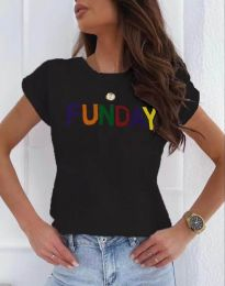 Дамска тениска в черно с надпис - код 2923