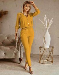 Дамски спортно-елегантен комплект панталон и блуза с дълъг ръкав в цвят горчица - код 0244