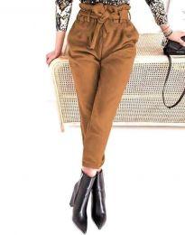 Стилен дамски панталон с висока талия в кафяво - код 2837
