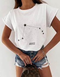 Дамска тениска с принт зодия овен в бяло - код 2342