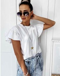 Дамска тениска с къдрички в бяло с ефектни ръкави - код 4669