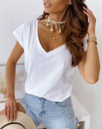 Свободна дамска тениска в бяло - код 2389