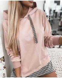 Kapucnis pulóver - kód 4094 - rózsaszín