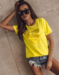 Дамска тениска в жълто с апликация - код 3324