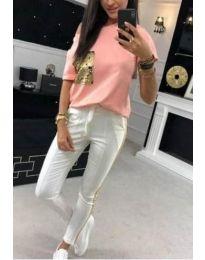 Дамски комплект блуза и панталон с пайети в розово - код 1298