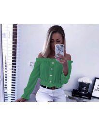 Кокетна дамска риза в зелено с голи рамене - код 7126