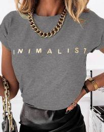 Дамска тениска с надпис в светлосиво - код 4078