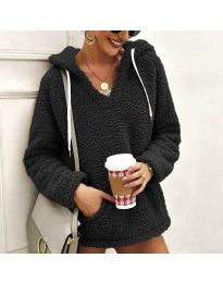 Kapucnis pulóver - kód 1685 - fekete
