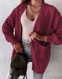 Модерна дълга свободна плетена жилетка в бордо - код 0785