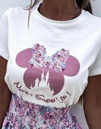 Бяла тениска с ефектен принт - код 1432 - 2