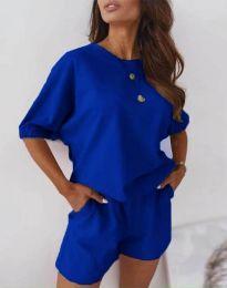 Ежедневен сет блуза и къси панталонки в тъмносиньо - код 2234