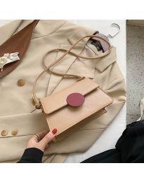 Дамска чанта в бежово с модерен дизайн и червен детайл - код B84