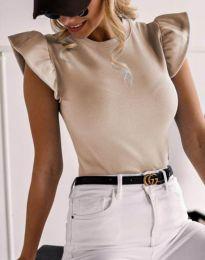 Дамска тениска в бежово с къдрички - код 5955