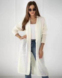 Атрактивна дълга плетена дамска жилетка в бяло - код 7361