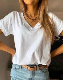 Дамска изчистена тениска в бяло - код 4517