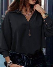Свободна елегантна дамска риза с дълъг ръкав в черно - код 2753