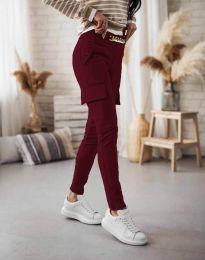 Дамски спортен панталон със странични джобове в цвят бордо - код 5130