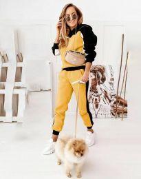 Ежедневен дамски сет със спортно долнище и суичър с качулка с черно и жълто - код 1460 - 1
