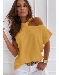 Ефектна дамска тениска в цвят горчица - код 0599