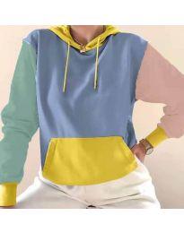 Kapucnis pulóver - kód 6269 - 8 - sokszínű