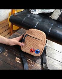 Дамска чанта в кафяво малък модел с два джоба - код B73 - лице