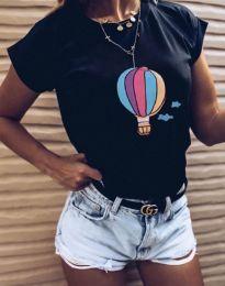 Черна тениска с принт - код 8616