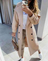 Дълго елегантно дамско палто в бежово - код 6452