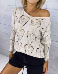 Дамски пуловер с едра плетка в бежово - код 4781