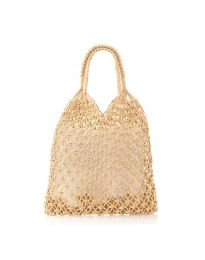 Дамска чанта в цвят капучино от плетиво тип торба - код CF009-25