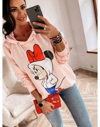 Kapucnis pulóver - kód 812 - rózsaszín