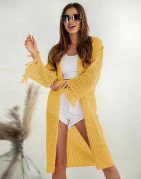 Ефектна дълга плетена дамска жилетка в жълто - код 4539