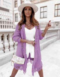 Ефектна дълга плетена дамска жилетка в лилаво - код 4702