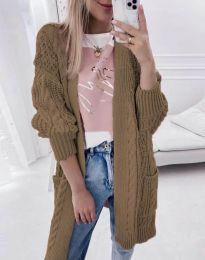 Свободна дълга плетена дамска жилетка в кафяво - код 2927
