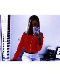 Кокетна дамска риза в червено с голи рамене - код 7126