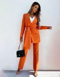 Дамски комплект сако с колан и панталон в оранжево - код 0477