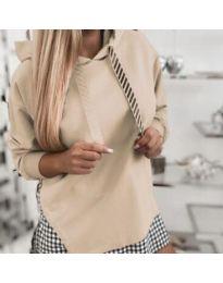 Kapucnis pulóver - kód 4094 - bézs